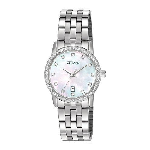Citizen® Womens Crystal-Accent Stainless Steel Bracelet Watch EU6030-56D
