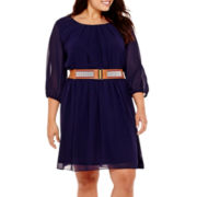 by&by 3/4-Sleeve Solid Belted Chiffon Dress - Plus