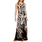 Studio 1® Sleeveless Animal Print Maxi Dress - Petite