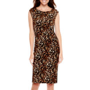 Tiana B. Cap-Sleeve Animal Print Panel Sheath Dress - Tall