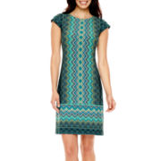 Liz Claiborne® Cap-Sleeve Geometric Print Shift Dress