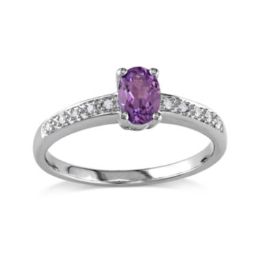 jcpenney.com | Lab-Created Alexandrite and Diamond-Accent 10K White Gold Ring