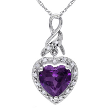 jcpenney.com | Lab-Created Alexandrite 10K White Gold Heart-Shaped Pendant Necklace