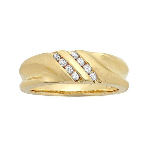 Mens 1/4 CT. T.W. Diamond 10K Yellow Gold Slant Wedding Band