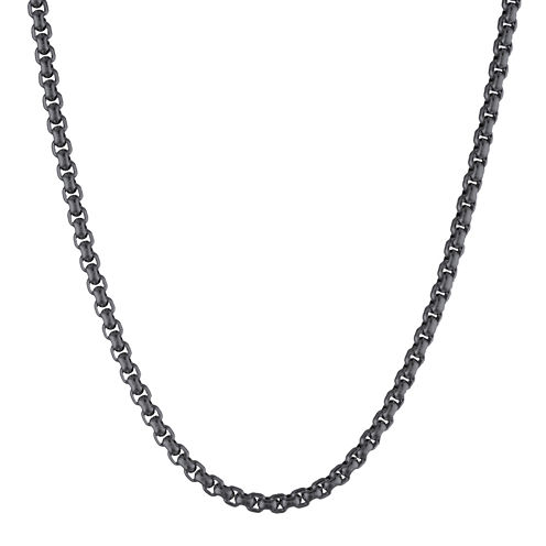 """Mens Stainless Steel and Black IP 24"""" 3.5mm Round Box Chain"""