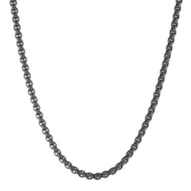 "jcpenney.com | Mens Stainless Steel and Black IP 30"" 3.5mm Round Box Chain"
