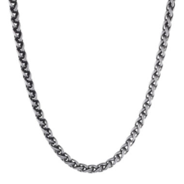 "jcpenney.com | Mens Antiqued Stainless Steel 18"" 3mm Wheat Chain"