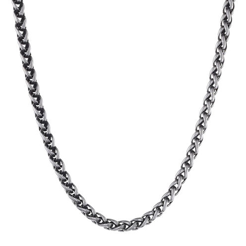 """Mens Antiqued Stainless Steel 24"""" 3mm Wheat Chain"""