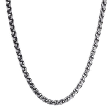 "jcpenney.com | Mens Antiqued Stainless Steel 30"" 3mm Wheat Chain"