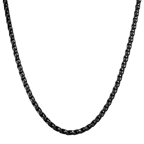 """Mens Stainless Steel and Black IP 18"""" 3mm Wheat Chain"""