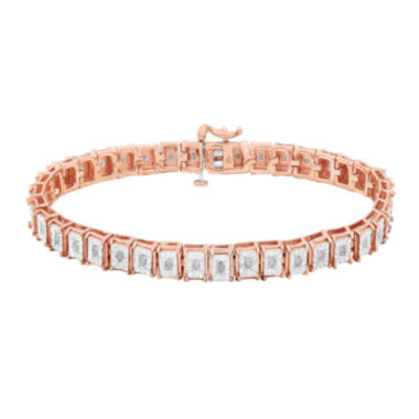 jcpenney.com | 1/2 CT. T.W. Diamond 14K Rose Gold Over Sterling Silver Square-Link Bracelet