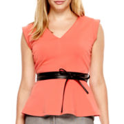 Worthington® Short-Sleeve V-Neck Peplum Top