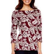 St. John's Bay® 3/4-Sleeve Floral Textured Sweatshirt