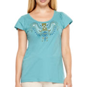 St. John's Bay® Flutter-Sleeve Embroidered Top