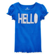 Okie Dokie® Embroidered Rib-Knit Tee - Toddler Girls 2t-5t