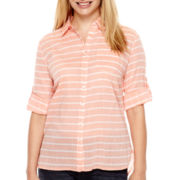 St. John's Bay® 3/4-Sleeve Gauze Campshirt - Petite