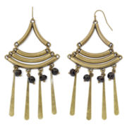 Aris by Treska Gold-Tone & Black Bead Fan Earrings