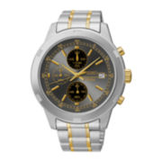 Seiko® Mens Two-Tone Stainless Steel Chronograph Watch