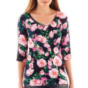 Decree® ¾-Sleeve Lace Print Top