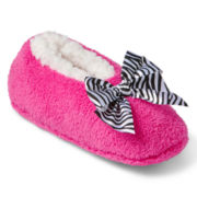 Pink Slipper Socks with Zebra Bow - Girls