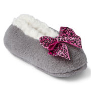Leopard Bow Slipper Socks - Girls