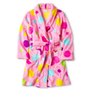 Dot Print Plush Robe - Girls 4-16