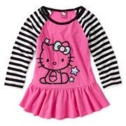 Hello Kitty® Striped-Sleeve Peplum Top - Girls 6-16