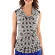 Worthington® Sleeveless Faux Leather-Trim Cowlneck Top - Petite