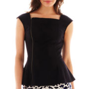 Worthington® Asymmetrical Zip-Front Peplum Top