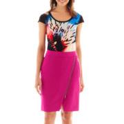 Worthington® Flutter-Sleeve Blouse or Asymmetrical Zip-Front Envelope Skirt