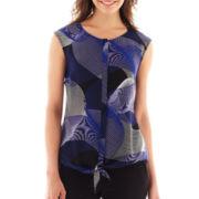 Worthington® Sleeveless Tie-Waist Blouse