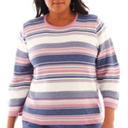 Alfred Dunner® Hillside Cottage 3/4-Sleeve Striped Sweater - Plus