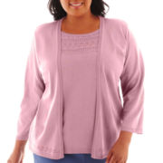 Alfred Dunner® Hillside Cottage 3/4-Sleeve Solid Cascade Layered Top - Plus
