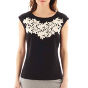 Worthington® Short-Sleeve Lace Embroidered Top