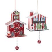 Peppermint Twist Set of 2 Cuckoo Clock House Ornaments