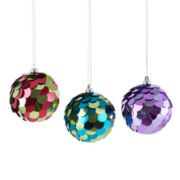 Glitter Brights Set of 3 Fish Eye Sequin Ornaments