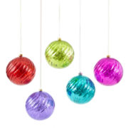Glitter Brights Set of 5 Mercury Shatterproof Ornaments