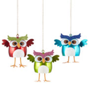 Glitter Brights Set of 3 Owl Novelty Ornaments