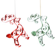 Glitter Brights Set of 2 Quilled Reindeer Ornaments