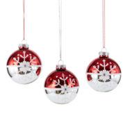 Peppermint Twist Set of 3 Glass Snowflake Ball Ornaments