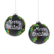 Peppermint Twist Set of 2 Merry Christmas Chalkboard Ornaments