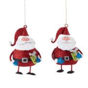Glitter Brights Set of 2 Glitter Santa Ornaments