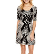 City Triangles® Elbow-Sleeve Print Textured Knit V-Back Skater Dress
