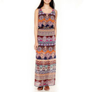 City Triangle® Sleeveless Print Belted Maxi Dress