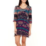 Love Reigns Crochet-Inset Sleeve Floral Chiffon Dress