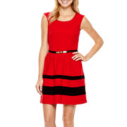 by&by Sleeveless Belted Ponte Colorblock Dress