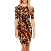 Worthington® Short-Sleeve Print Sheath Dress