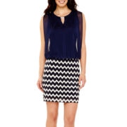 Perceptions Sleeveless Chevron Print Blouson Dress