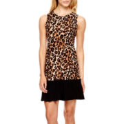 Tiana B. Sleeveless Animal Print Trapeze Dress