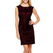 Studio 1® Sleeveless Laser-Cut Scuba Sheath Dress